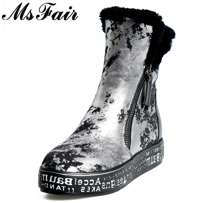 цена на MSFAIR Women Snow Boots Mixed Colors Print Round Toe Flat Ankle Boots Winter Zipper Wool Keep Warm Cotton Snow Boots For Girl