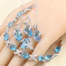 Sky Blue Semi-precious 925 Silver Jewelry Sets with Bracelet For Women Necklace Pendant Earrings Ring Birthday Gift Jewelry цены онлайн