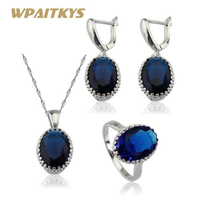 8274c7748 Oval Dark Blue Crystal Jewelry Sets For Women Bridal 925 Silver Necklace  Pendant Earrings Rings Free Gift Box