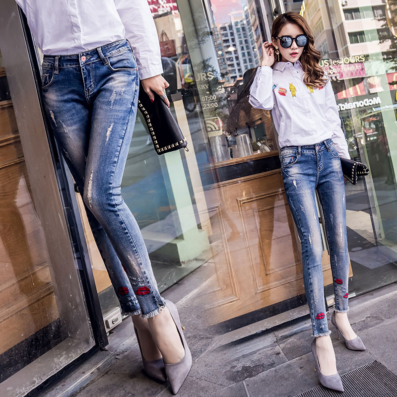26 De Tamaño Rojo 31 Slim Carta Mezclilla Vaqueros Mujeres Lápiz Azul Plus Pantalones Bordado Nuevas L921 Mujer Pantalón 5w5xqzAYr