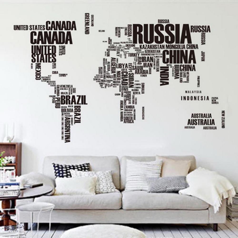 6090cm large world map letter wall stickers letters map wall art bedroom home removable