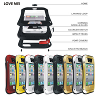LOVE MEI Brand Small Waist Aluminum Metal Case For Apple IPhone 4 4S Shockproof Waterproof Armor