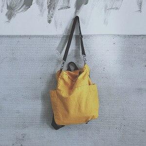 Image 2 - Solid Color Multifunctional Bag Canvas Backpack Women Mochila School Bag For Travel Backpacks School Backpack For Girls