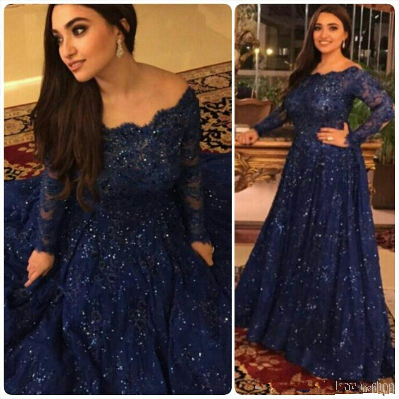 Dark Navy Plus Size Mother Of The Bride Dresses 2019 Long Sleeves Sequined Lace A Line Long Formal Weddings Vestido De Madrinha