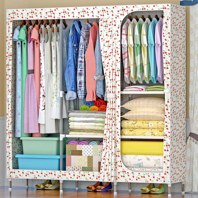 6-grid oversized wardrobe Flower pattern Oxford cloth wardrobe 19MM Steel Pipe Hanger Bedroom Storage Cabinet Home Furniture