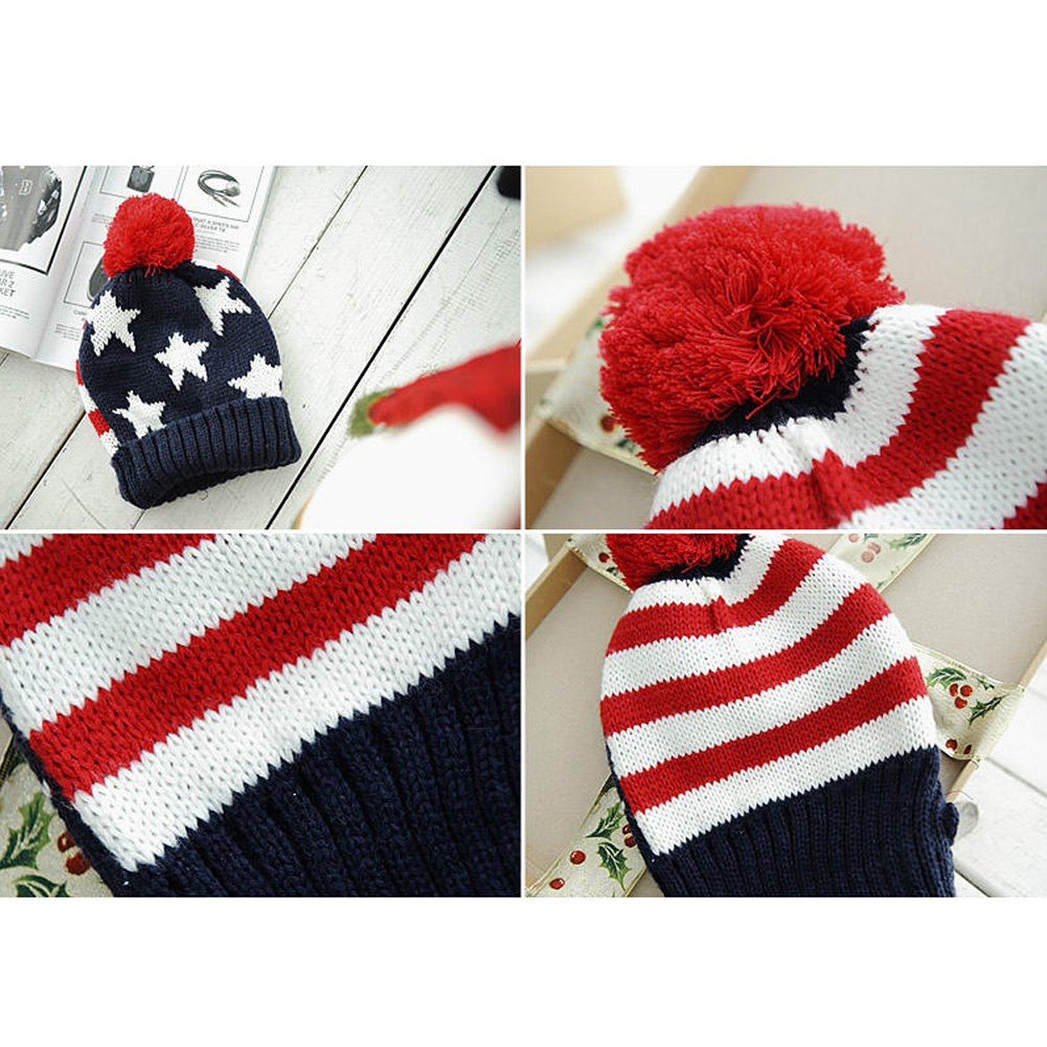 21f8c0440f1 US Flag Knit Beanie Crochet Rib Pom Pom Hat Cap Blue   Red-in Skullies   Beanies  from Apparel Accessories on Aliexpress.com