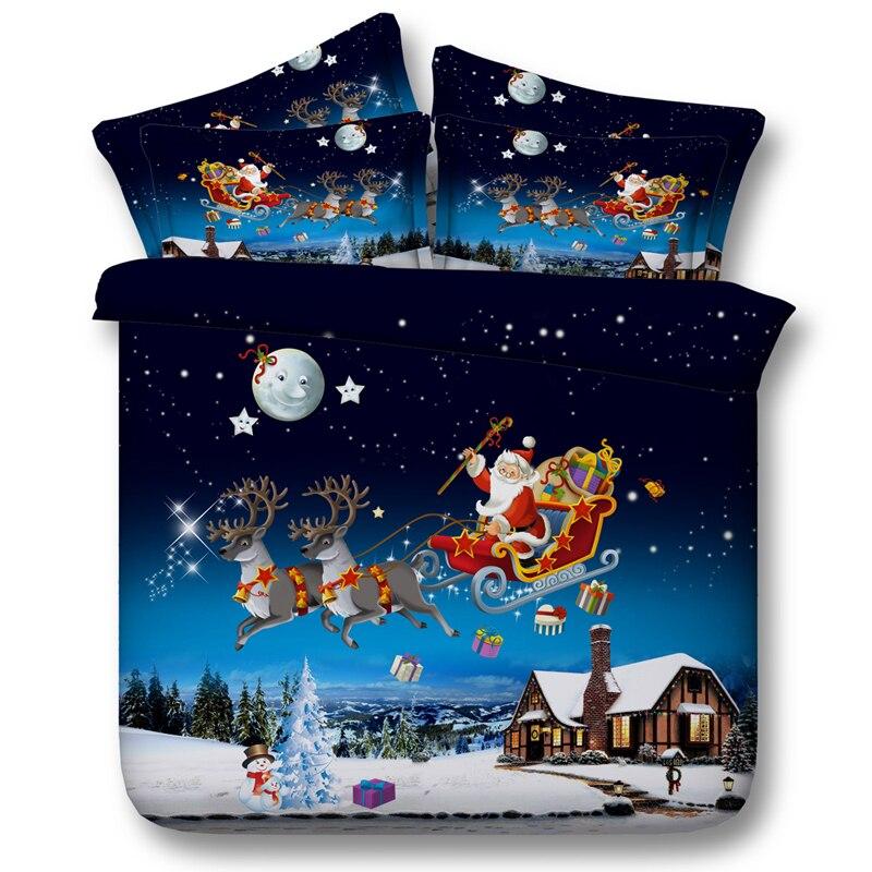 Рождественский комплект белья Санта Клаус Олень Звезда Луна пододеяльник король сдвоенная, большая простыня простыни покрывало Подарок Сн...