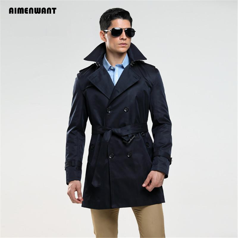 AIMENWANT Fashion Double Breasted Trench Male Design Slim Fit Business Casual Outerwear Plus Size Customized Coat Trench Cheap