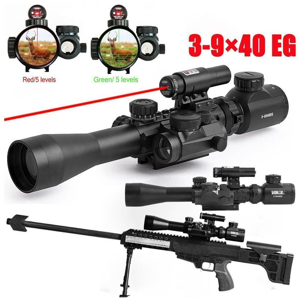 3-9X40EG Scope Combo Illuminated Tactical Rifle Scope with Red Laser & Holographic Dot Sight for Hunting Guns Airsoft hunting red dot sight tactical 3 9x40dual illuminated mil dot rifle scope with green laser sight combo airsoft weapon sight