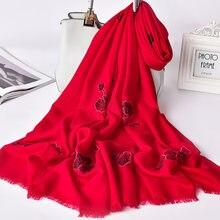 100% шерстяной шарф шали для женщин теплые шерстяные шарфы женский
