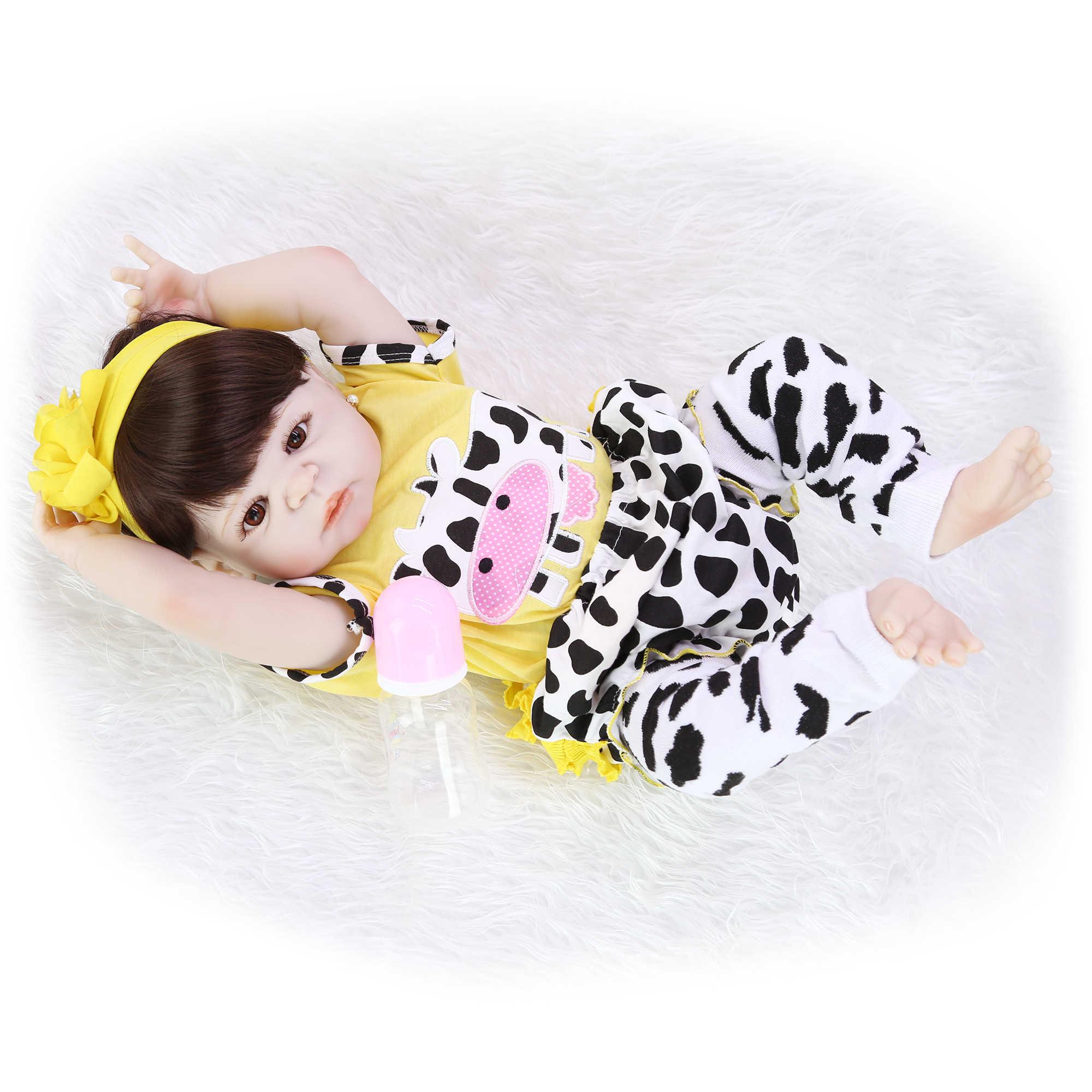 Коллекционные 23 ''57 см Reborn Baby Dolls полное виниловое тело реалистичные, как девушка живой кукла в Бразилии ребенок малыш игрушки в подарок на день рождения