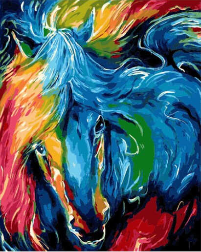 DRAWJOY Colorful Horse Animal Framed Picture Painting & Calligraphy DIY Painting By Numbers Coloring By Numbers