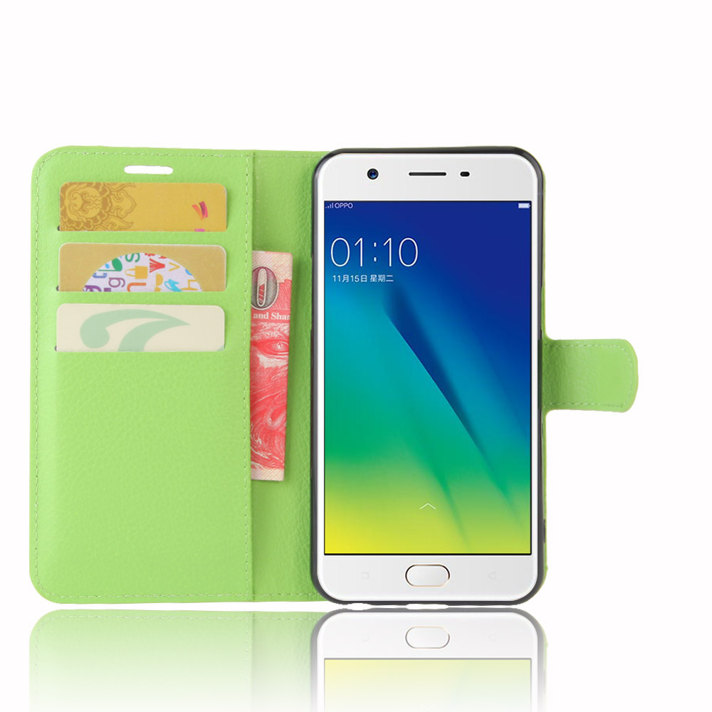 for OPPO A57 Case Wallet Style Litchi Texture Flip Leanther Cover Case for OPPO A57 / OPPO A39 With Stand Function and Card Slot