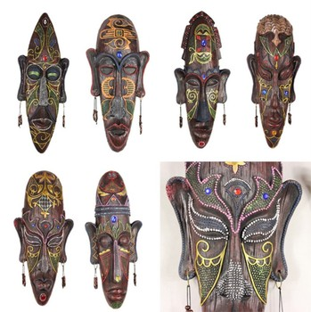 48-51 cm Creative personality Hand Painted big resin craft Africa mask wall hanging bar ornaments home hotel room KTV decoration