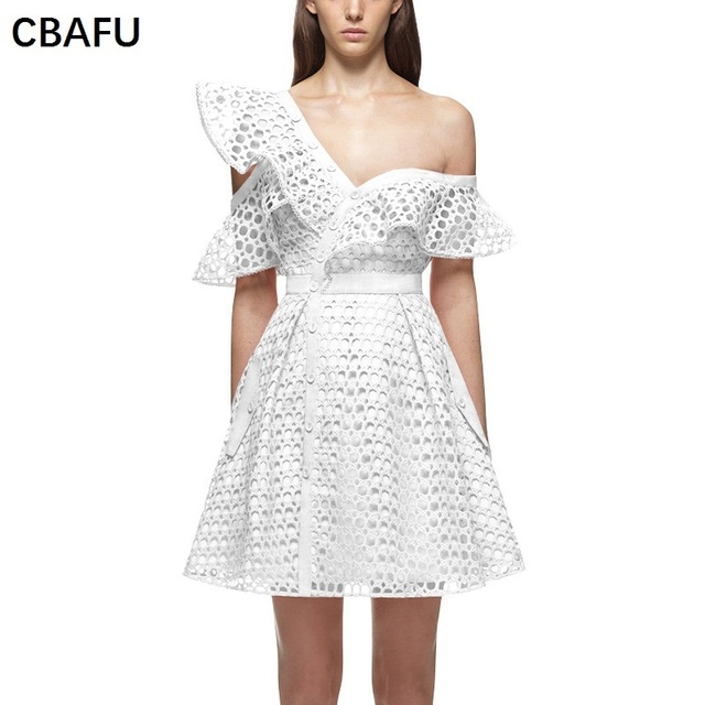 5b6d4764044a CBAFU new hollow out sexy off the shoulder mini dress white pink black  party lace dress 2017 self portrait dresses vestidos X011