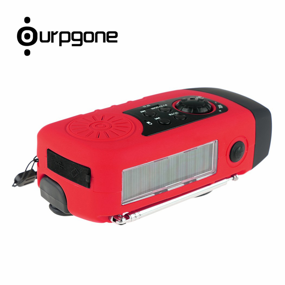Ourpgone Dropshipping 1*Outdoor Camping Tools Red Solar Powered Radio Hand Crank FM LED Flashlight Phone Charger Free shipping! rd 310 1 3 lcd hand cranked dynamo 5 led flashlight w alarm function fm radio white grey