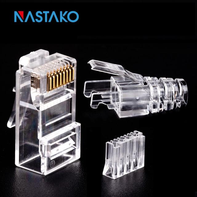 NASTAKO 50/100pcs Cat6 RJ45 Connector UTP Cable Ethernet Jack 8P8C Network CAT 6 Modular Plugs With 6.5mm RJ45 Caps