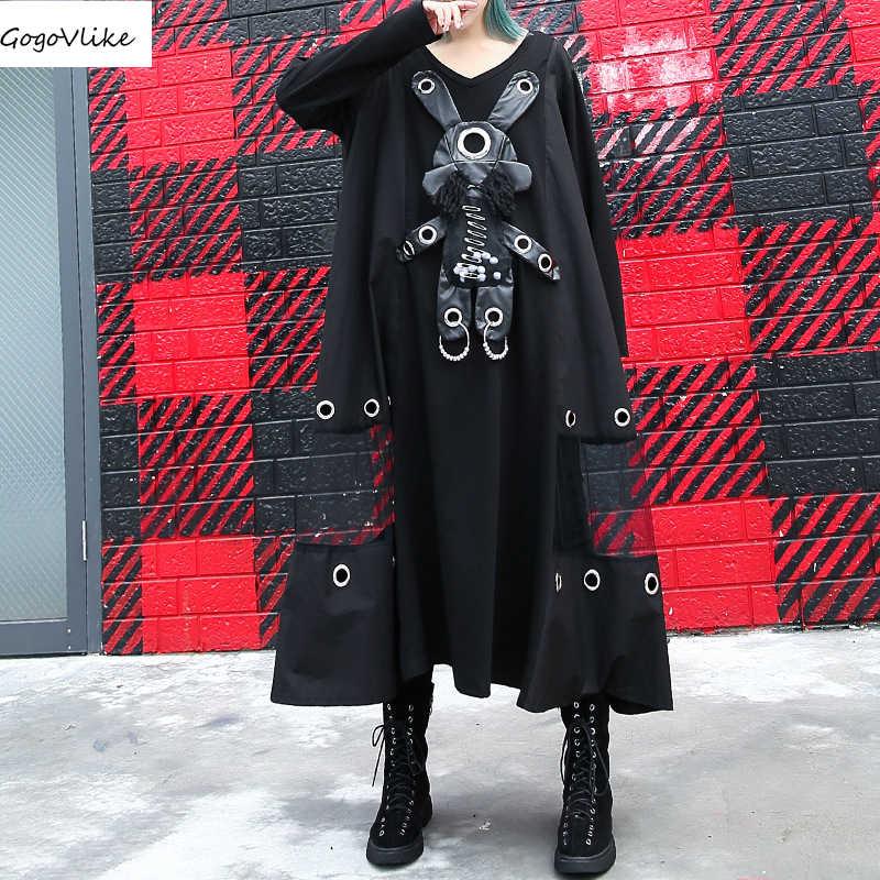 Dot Patch robe maille épissé grande taille 2019 printemps femmes tenue décontractée grande taille robes femmes vêtements surdimensionné LT455S30