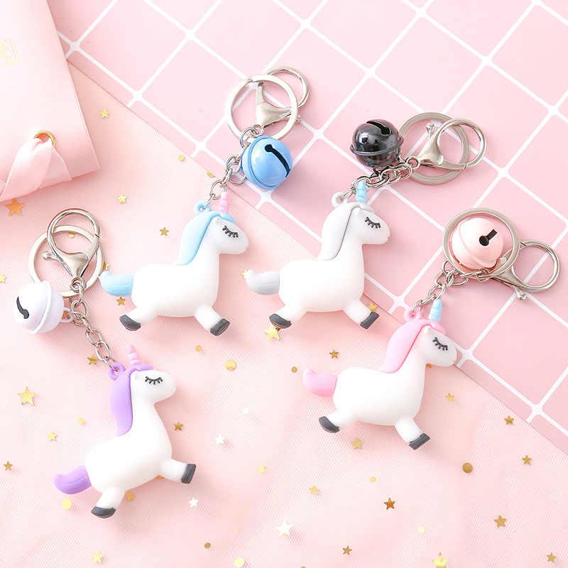 2019 Nova Fantasia & Fantasia Hot Sale Bonito Unicórnio Animal Keychain Chaveiros PVC Mulheres Bolsa Charme Chave Pingente Anel Presentes alta Qualidade