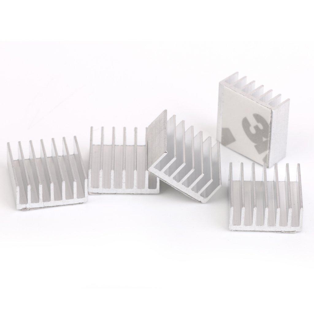 5 x cooler 14 x 14 x 5 mm aluminum radiator grill raspberry pie / for FPGA / MCU silver