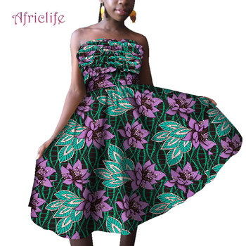 One Pcs Dress Beautiful African Wax Cotton Traditional Style Over Knee Girl Skirt With Elastic Strapless Sexy Dresses WY4775