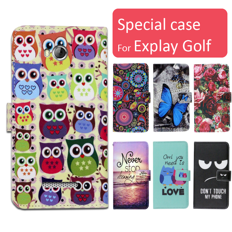 Fashion cartoon printed flip wallet leather case for Explay Golf with Card Slot phone bag book case,free gift