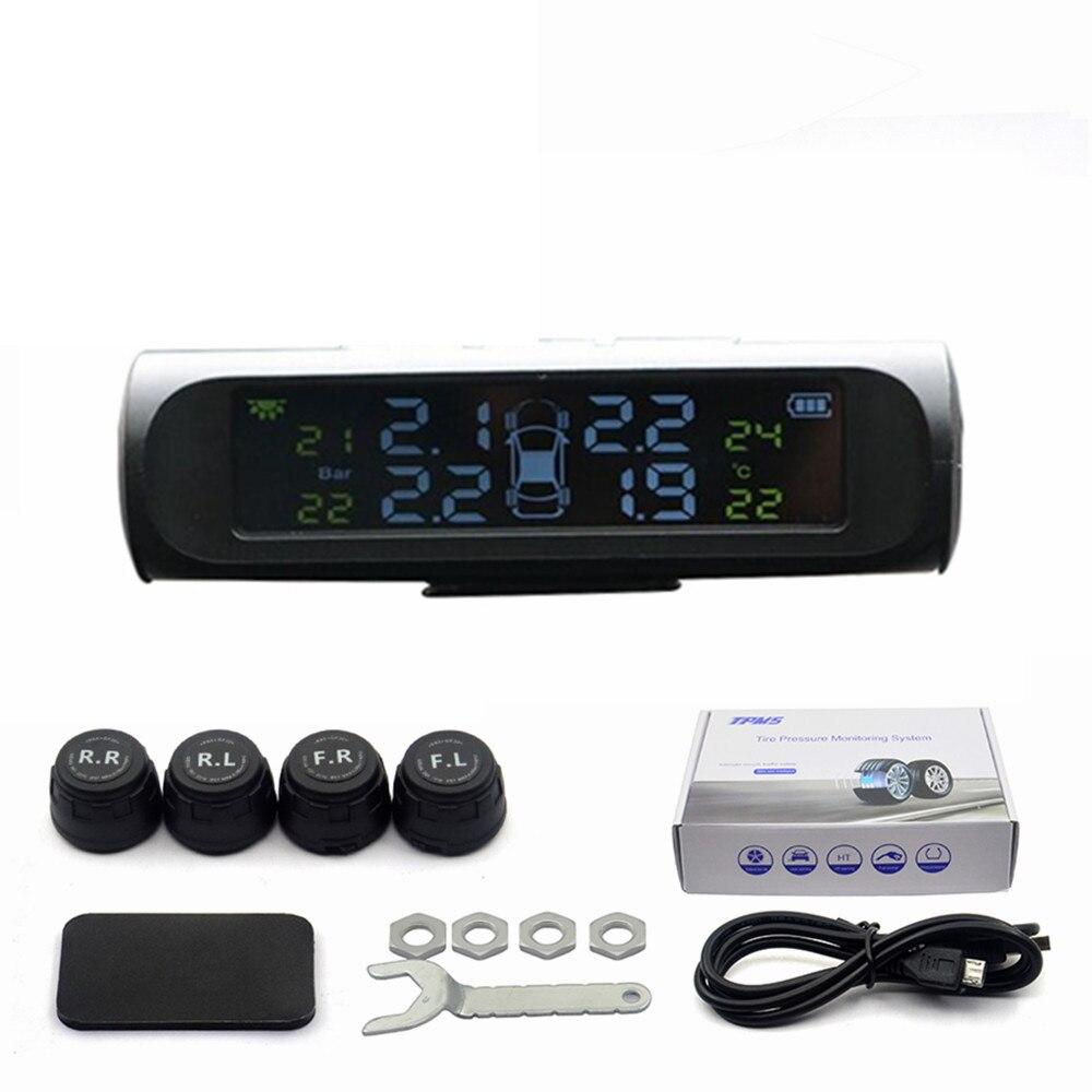 Professional Solar TPMS Car Tire Pressure Alarm Monitor System Display 4 External Sensors Temperature Warning Fuel Save 15
