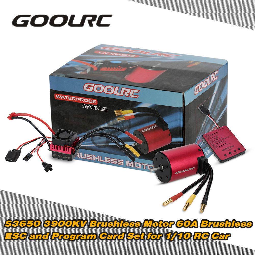 Original GoolRC S3650 3900KV Sensorless Brushless Motor 60A Brushless ESC and Program Card Combo Set for 1/10 RC Car Truck skyrc leopard 60a esc brushless motor 9t 4370kv 1 10 car combo with program card for car boat