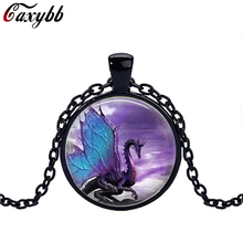 Blue Dragon black chain Necklace glass dome pendant necklace Jewelry Long Dragon Necklace Fantasy winged Dragon