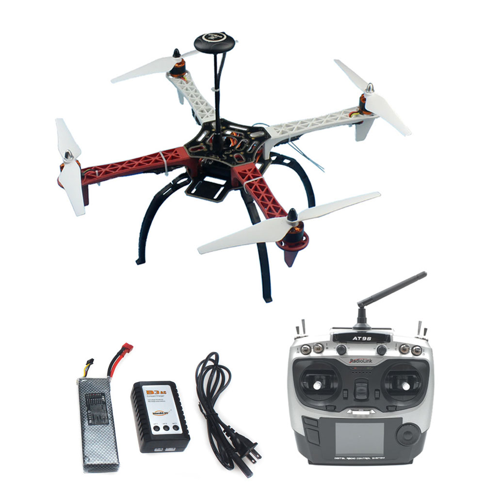 DIY Drone Assembled HJ 450 450F 4-Aixs RFT Full Kit with APM 2.8 Flight Controller GPS Compass with AT9S Transmitter No Gimbal drone upgraded apm2 6 mini apm pro flight controller neo 7n 7n gps power module