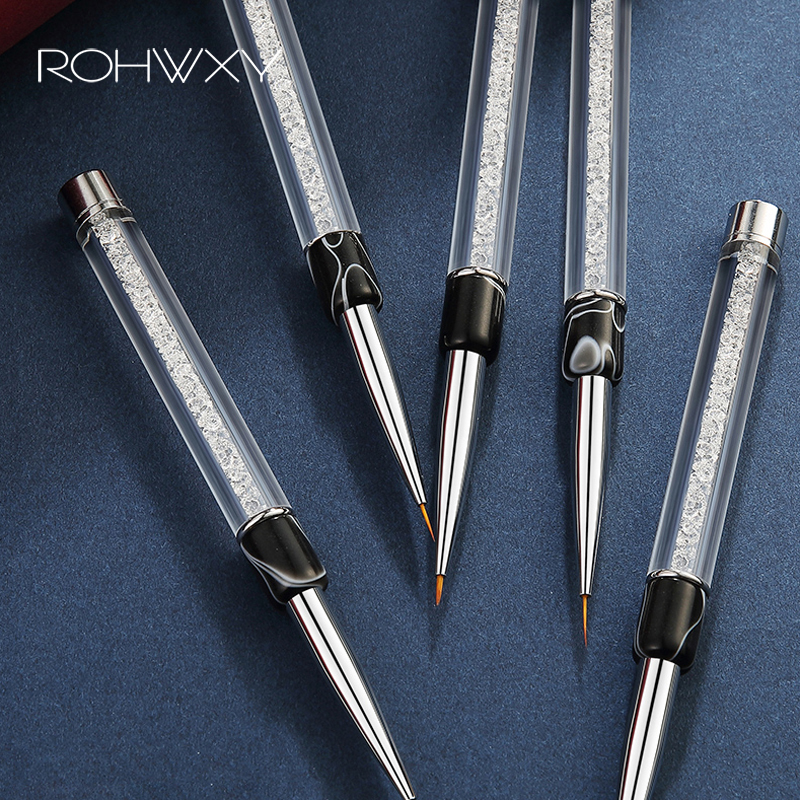 ROHWXY Nail Art Brush Set 15Pcs Gel Nail Crystal Acrylic Brush Nail Design Tool For Manicure Painting Draw Pen Ombre Brush Nail