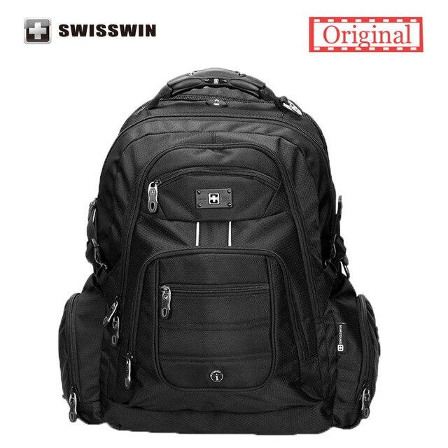 Swisswin 17 polegada dos homens laptop mochila notebook saco do computador de nylon de alta qualidade à prova d' água 37l grande viagem mochila sw9801 preto