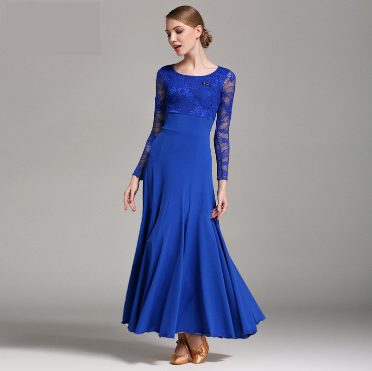 Standard Ballroom Dance Dresses 2019 High Quality Lace Sleeve Flamenco Dancing Skirt Women Cheap Stage Waltz Ballroom Dress