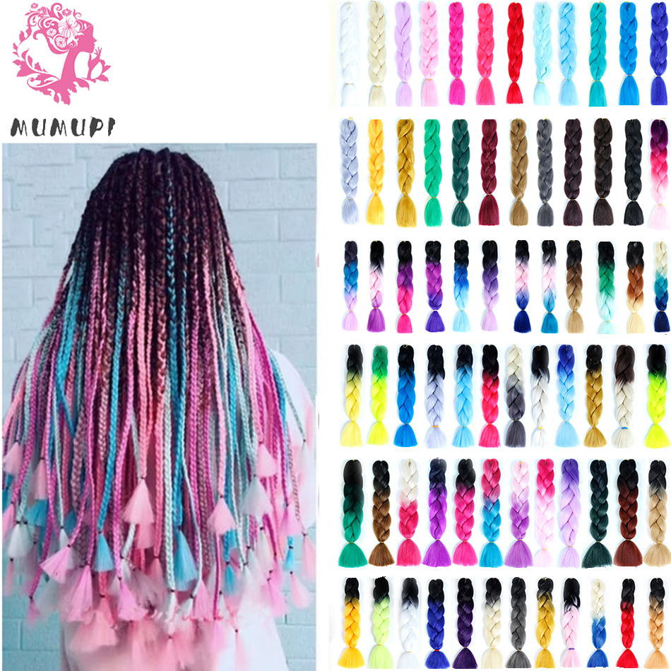 MUMUPI 24 inch100g Crochet Hair Extensions Hair Synthetic Crochet Braids Ombre Jumbo Braiding Hair Extensions   headwear