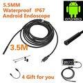 3.5 m Impermeable HD Mini Cámara de la Serpiente Del Tubo Del Endoscopio 5.5mm Lente Cable USB Inspección Rígida LED Borescopefor Teléfono Android PC