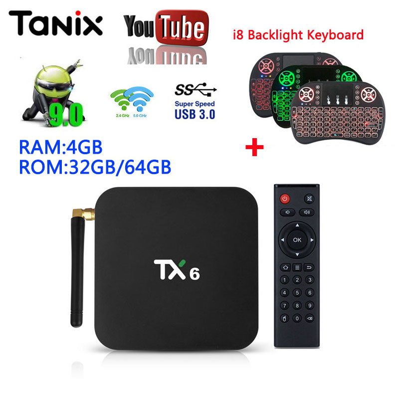 Tanix TX6 Android 9.0 4GB 32GB 64GB Smart tv box support dual wifi BT4.1 HD2.0 Youtube Google Play Media Player TV box pk H96MAXTanix TX6 Android 9.0 4GB 32GB 64GB Smart tv box support dual wifi BT4.1 HD2.0 Youtube Google Play Media Player TV box pk H96MAX