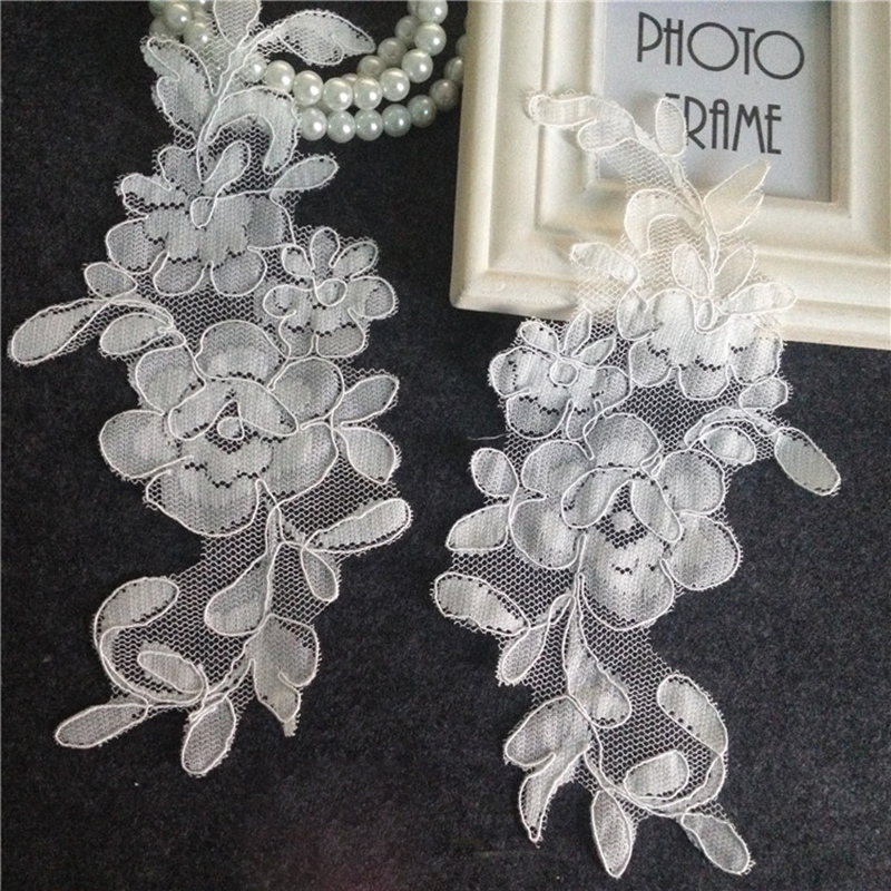 Motif Sewing On Mirror Pairs Gorgeous Bridal Lace Trim Appliques Garment Water Soluble Patch 10 pcs(5 pairs) TT253
