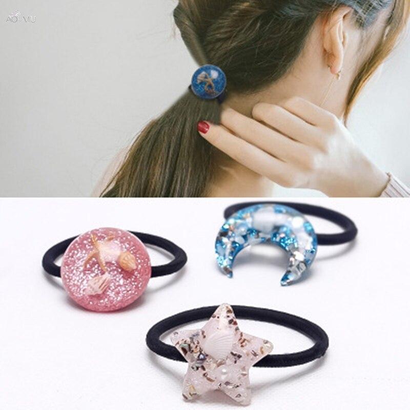 AOMU Korea Style Elastic Hair Bands For Women Girls Ponytail Cute Shell Star Hair Tie Hair Accessories Sea Star Pearl Hair Rope
