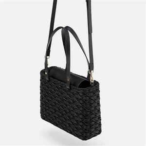 Image 4 - New black camel borsa di paglia rattan naturale di spalla borsa da spiaggia borsa borse tessitura a mano Crossbody bag