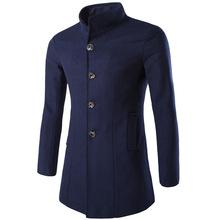 Casual Fashion Mens Long Coats 2018 Winter Slim Long Sleeve Wool Blend Coat and Jacket Warm