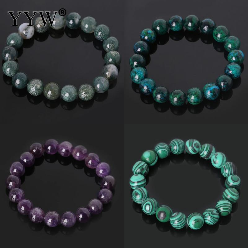 YYW Natural Stone Bracelets 6/8/10mm Round Beaded Amethysts Quartz Malachite Lapis Lazuli Rainbow Rose Stone Wristband Bracelets title=