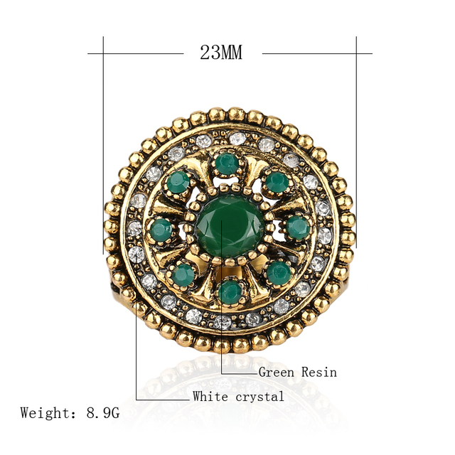 2017 Fine Vintage Jewelry Trendy Round Flower Multicolor Resin Crystal Ancient Gold Plated Ring For Women