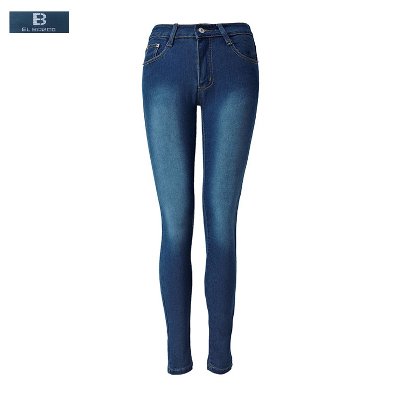 [EL BARCO] New Cotton Jeans Female High Waist Soft Jeans Women Solid Blue Pockets Long Skinny Pencil Pants Casual Trousers 2XL линза для маски von zipper lens el kabong nightstalker blue