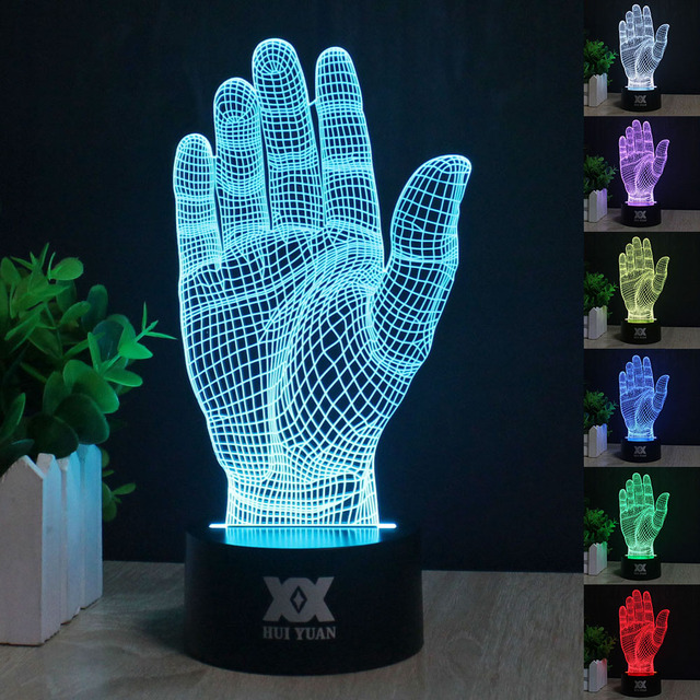 Palm 3D night light RGB and changeable mood lamp LED light dc 5 v USB decoration lamp children gifts HUI YUAN Theme