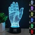 Palma de la noche 3D luz RGB y cambiable mood lámpara de luz LED dc 5 v USB lámpara de la decoración de regalos de los niños HUI YUAN Tema