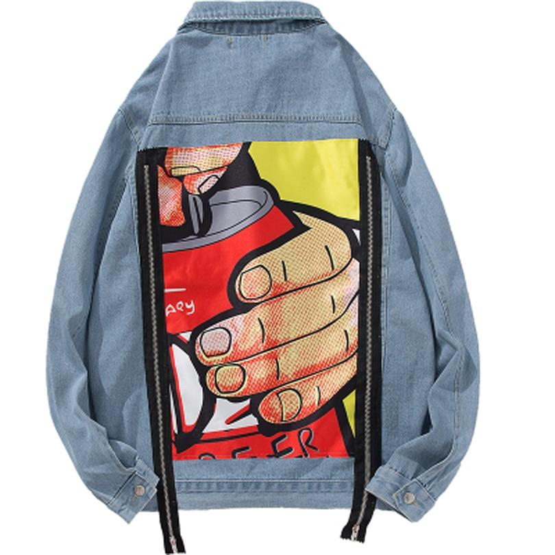 Picture Picture Automne Taille Lâche Black blue Couleurs Veste Manteau Mode Hiver Imprimé Nouveau Casual Denim Zipper 2 M Grande Hip Hop As 2xl De Hommes qB5SwxT5z