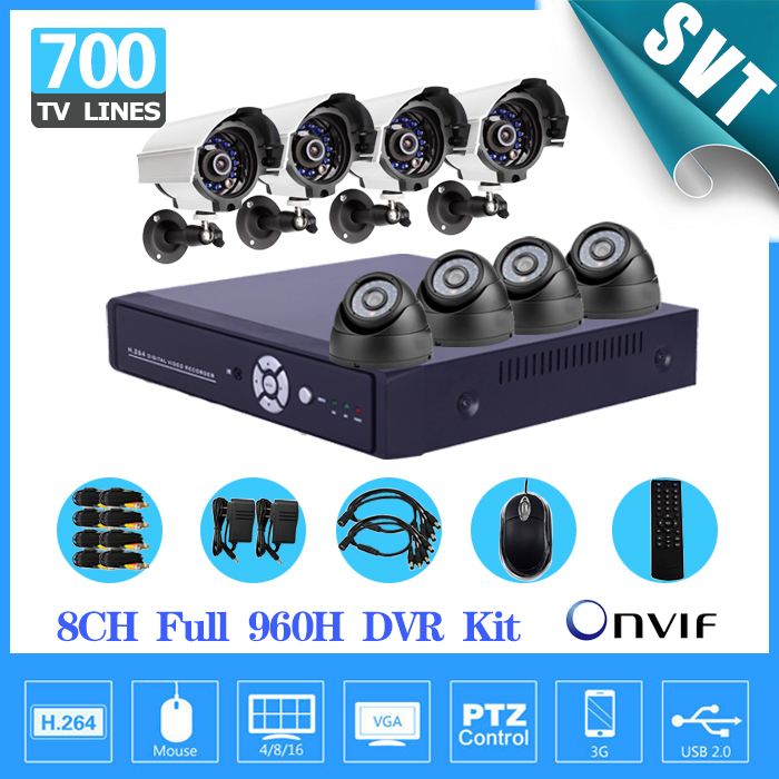 700TVL IR Weatherproof indoor outdoor Surveillance CCTV Camera Kit Home Security 8 channel DVR video Recorder System 960H SK-137 keeper 700tvl 4ch home video cctv surveillance system kit for analog camera 2pcs outdoor indoor dome 20m ir security camera
