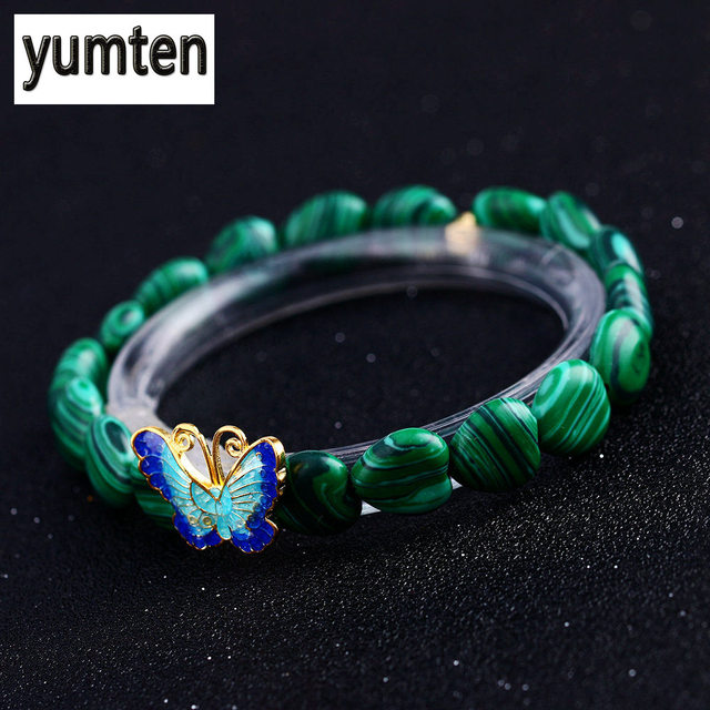ec2adc974adb Yumten malaquita de plata 925 mariposa damas joyería de mujer pulsera de  cristal de piedra de