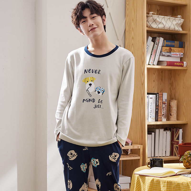 J&Q New Cotton Pajamas For Man Print Cute Style Home Wear O Collar 100%cotton Home Clothing Male Pijamas Sleep Top Men Sleepwear