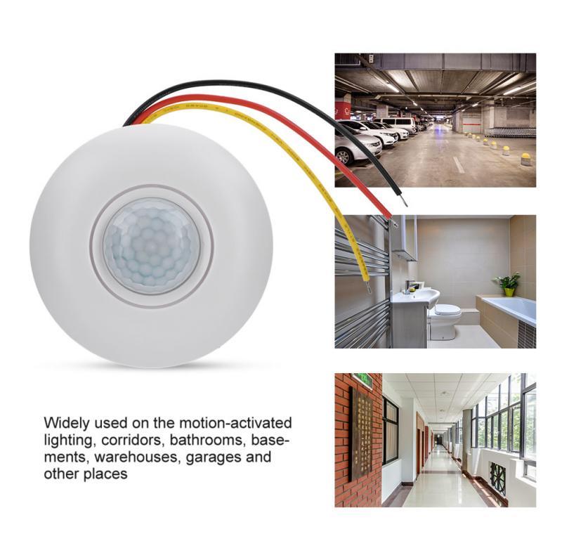 360 Infrared PIR Motion Sensor Switch with Time Delay for LED Ceiling Light AC180-250V